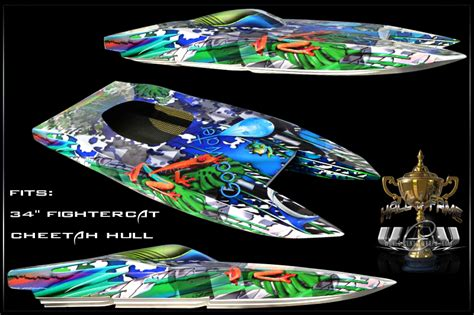rc boat vinyl graphics custom lagooner graphics for 34 quot inch fightercat cheetah