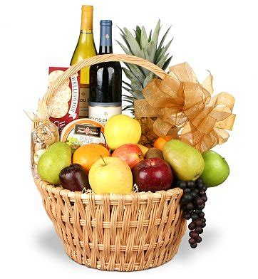 Gourmet Fruit and Wine $134.95 Basket Same Day Delivery Gift Baskets Delivered Today