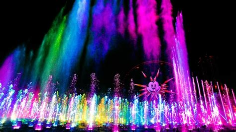 world of color blue section mist streams exploding fountains and dancing lights