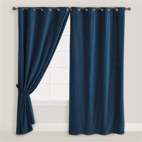 dark blue curtains dark blue velvet grommet top curtain world market