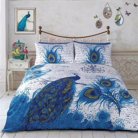 peacock quilt doona duvet cover set bedding bird peafowl