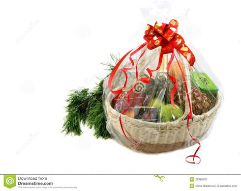 new year gift basket and pine branch stock image image