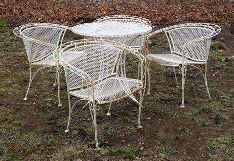Patio Mesh Vintage Wrought Iron White Mesh Patio Set