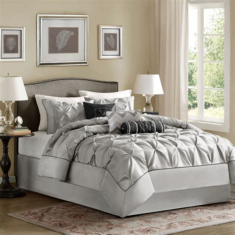 black pintuck comforter beautiful modern chic ruffle black grey white pintuck