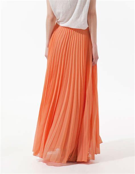 zara maxi pleated skirt in orange tangerine lyst