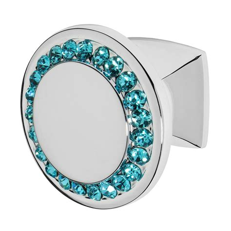 blue crystal cabinet knobs wisdom stone isabel 1 1 4 in chrome with aqua blue