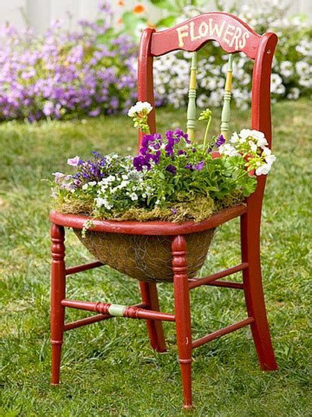 turn chairs into beautiful flower beds and planters