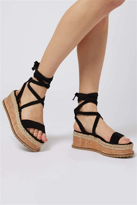 topshop wave flatform espadrille wedge in black lyst
