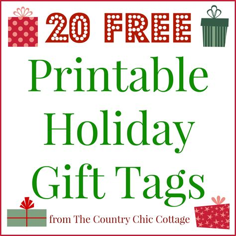 printable holiday gift tags    country chic cottage