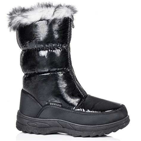 snow boots with fur buy rubix flat zip synthetic fur calf snow boots black