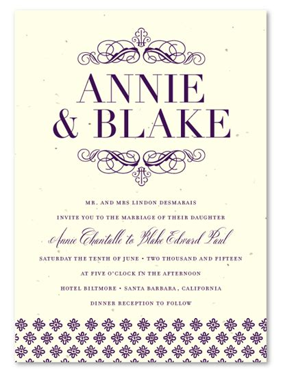 Wedding Invitations Seeded Paper by Seeded Paper Wedding Invitations Elegance
