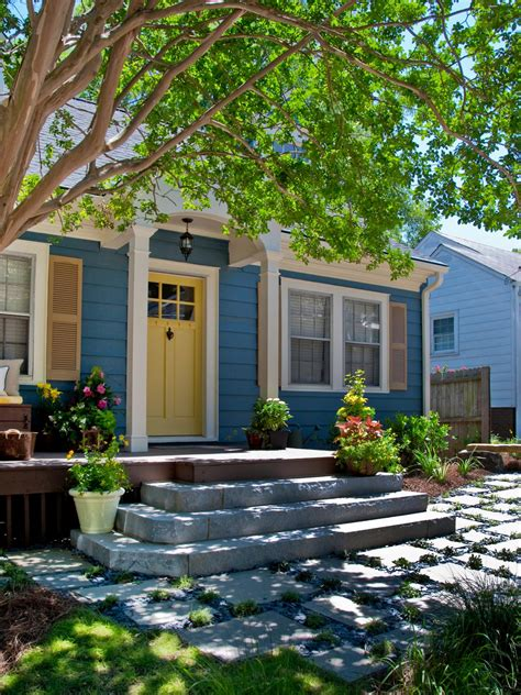 blue house yellow door 8 budget curb appeal projects hgtv