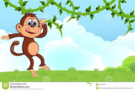 cartoon monkey swinging on a vine monkey swinging on vines cartoon in a garden for your
