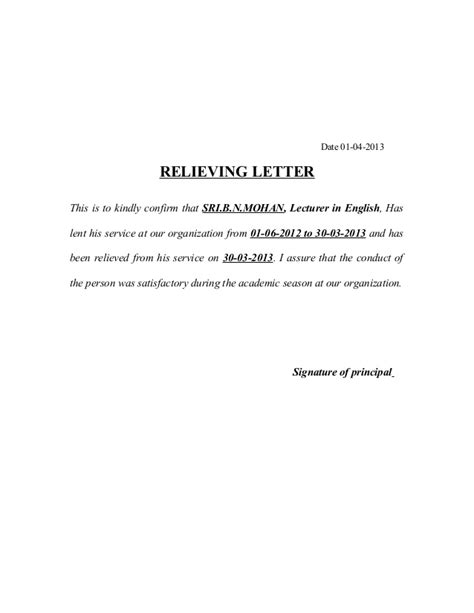 format date letter relieving letters and format