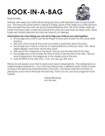 Parent Letter For Literacy Bag The World S Catalog Of Ideas