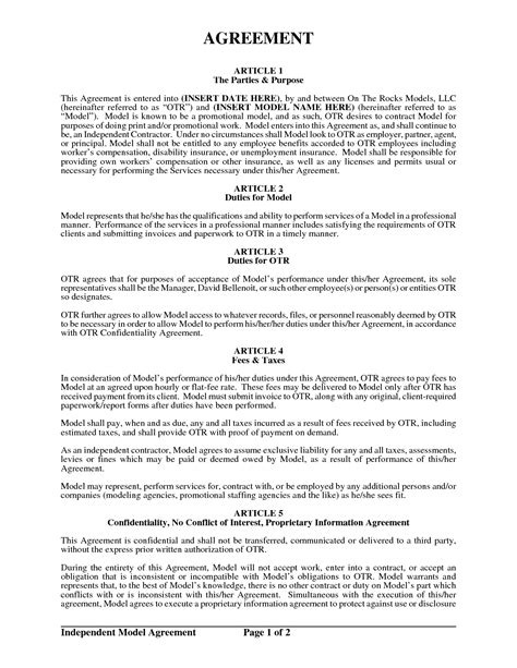 model agreement template model contract free printable documents