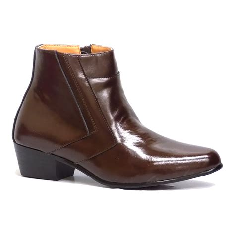 mens boots with 2 inch heels d italo 5631 mens brown leather zip cuban heel fashion