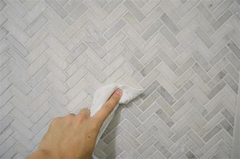 Backsplash For Small Kitchen How To Install A Marble Herringbone Tile Backsplash In The