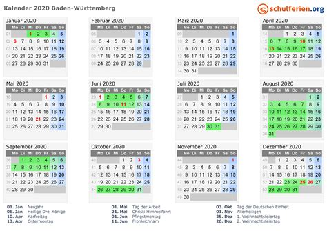 kalender  ferien baden wuerttemberg feiertage