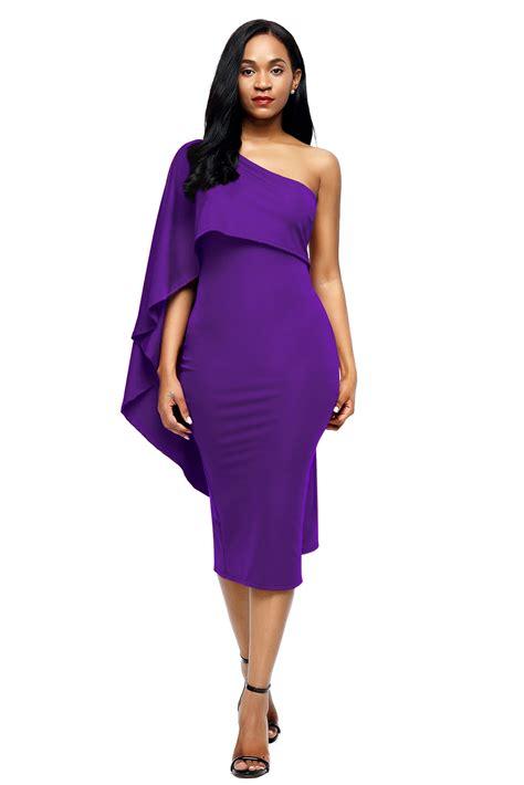 trendy purple batwing sleeve one shoulder sheath dress