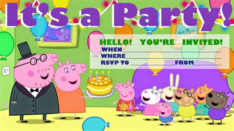 peppa pig printable birthday decorations invitations for sleepover party