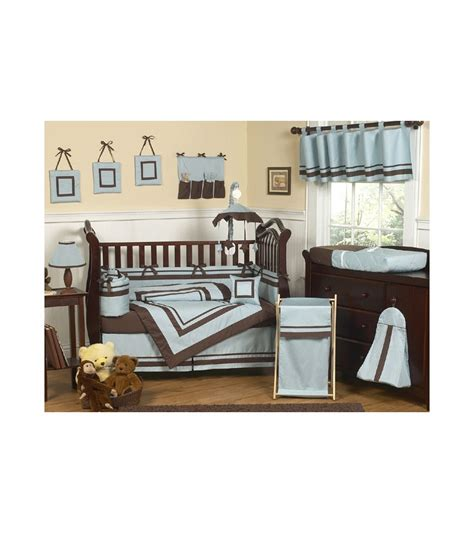 Crib Hotel by Sweet Jojo Designs Hotel Blue Brown 9 Crib Bedding Set