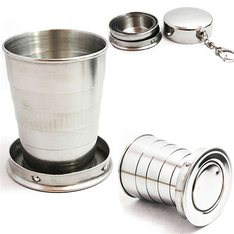 Cup Mini 75 Cc 2015 new 75ml mini stainless steel portable travel folding collapsible cup telescopic 1oce