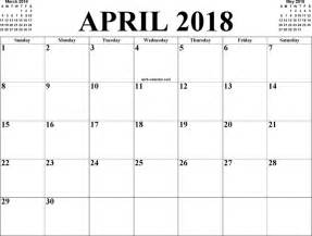 April 2018 Calendar Printable April 2018 Calendar With Holidays Free Printable