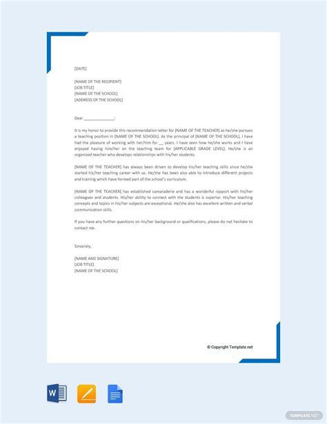 recommendation letter teacher lettering