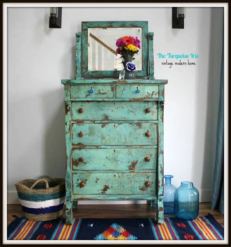 Turquoise Distressed Dresser by The Turquoise Iris Furniture Turquoise Heavily
