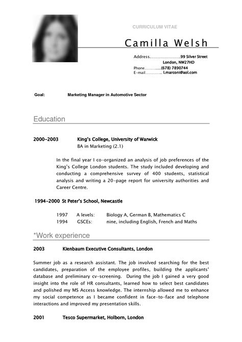 curriculum vitae sle for college students best photos of curriculumvitae cv template sle curriculum sle vitae cv template college