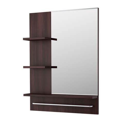 ikea bathroom mirror with shelf lill 197 ngen mirror black brown ikea