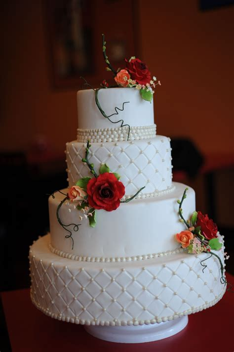 White wedding cake with Quilt design and edible pearls