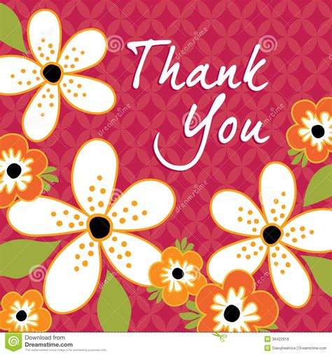 thank you card template flowers vintage floral thank you card template stock vector