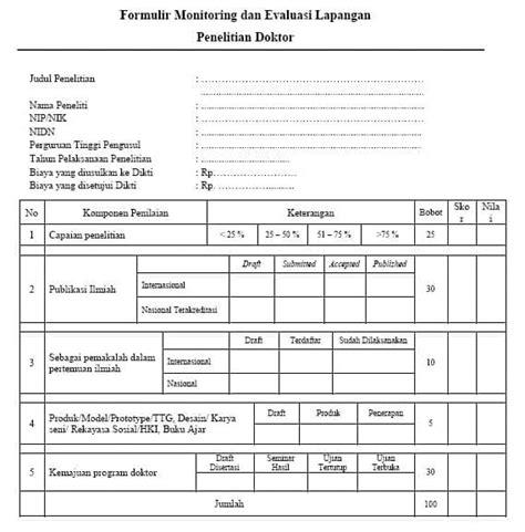 contoh laporan evaluasi kinerja liran 5 formulir monitoring dan evaluasi lapangan