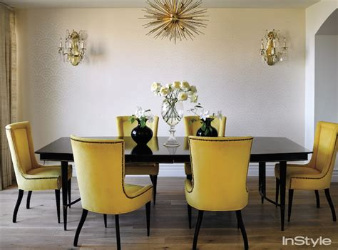yellow dining room table yellow dining chairs transitional dining room