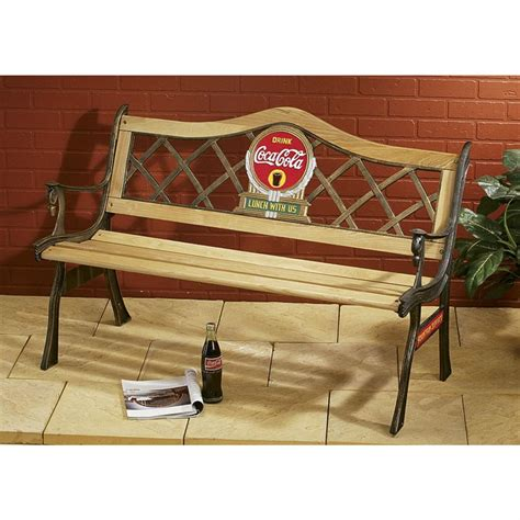 coca cola bench for sale coca cola 174 bench 82579 patio furniture at sportsman s guide