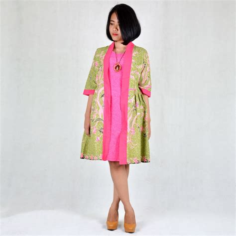 Stelan Batik Blusrok Pink Panjang set baju bolero batik wanita pink