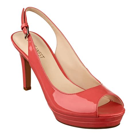 peep toe high heels nine west able high heel peep toe pumps in orange light