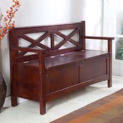 Indoor Wooden Benches Harper X Back Storage Bench Wenge Dark Wood Indoor