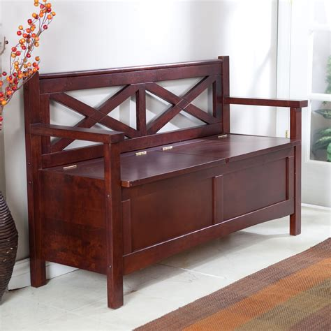 harper x back storage bench wenge dark wood indoor