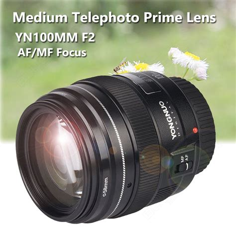Lensa Yongnuo 100mm Yn100mm F2 For Dslr Canon yongnuo auto focus lens yn100mm f2 medium telephoto prime