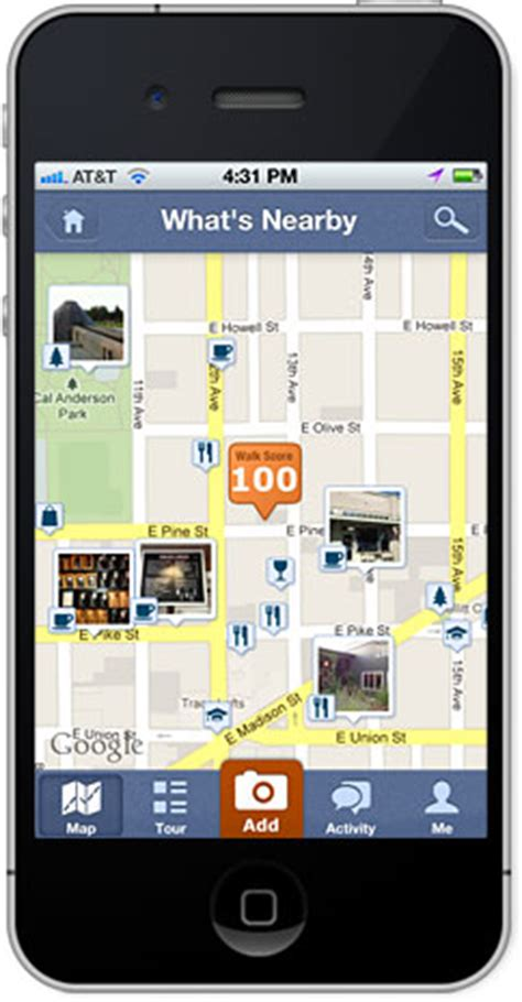 walk score iphone app find a walkable home or apartment