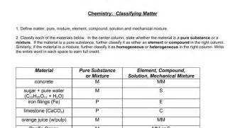 Classifying Matter Worksheet Answers Key