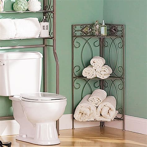 metal 3 shelf corner bathroom storage accent