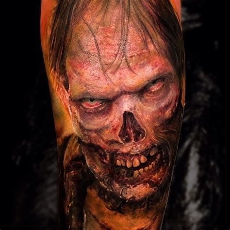 horror zombie tattoo on foot real photo pictures images colored horror style creepy looking zombie tattoo on arm