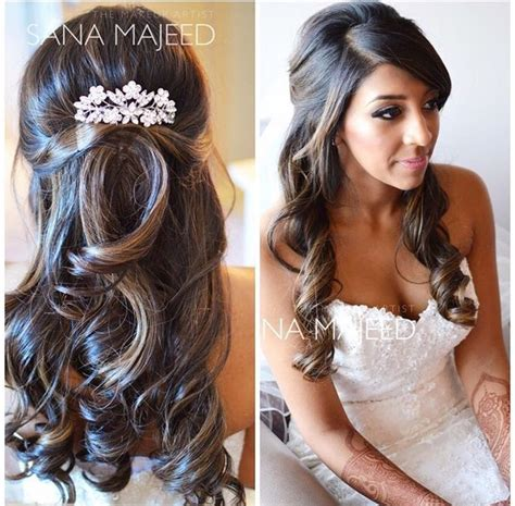 hair styles combed down half up half down hairstyle curls bridal hair comb