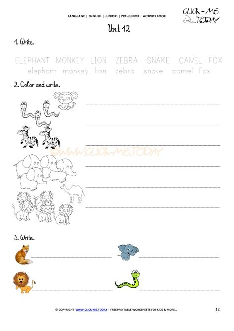 free printable english worksheets beginners free printable beginner esl pre junior worksheet 12 animals