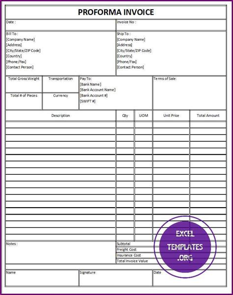 proforma invoice excel template 28 images proforma