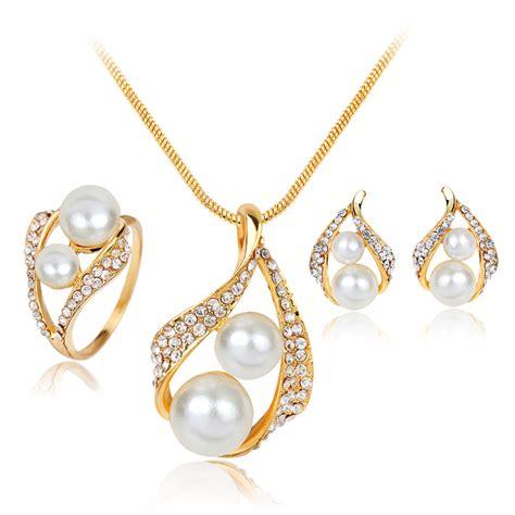 Set Perhiasan Gold 1 2017 new simulated pearl wedding jewelry sets parure bijoux mariage jewelry necklace